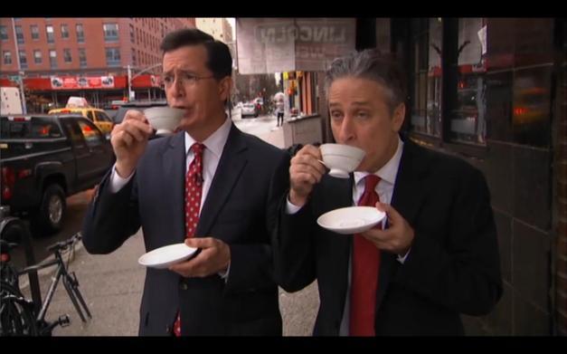 jon-stewart-steven-cobert-drinking-tea